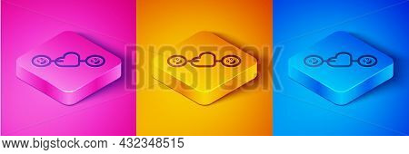Isometric Line Romantic Relationship Icon Isolated On Pink And Orange, Blue Background. Romantic Rel