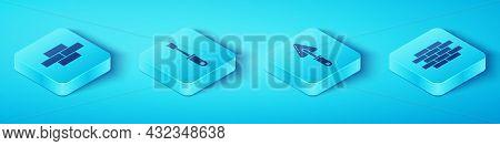 Set Isometric Bricks, Screwdriver, Bricks And Trowel Icon. Vector