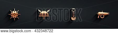 Set Naval Mine, Viking Horned Helmet, Sapper Shovel And Cannon Icon With Long Shadow. Vector