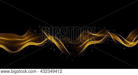 Gold Glittering Color Wavy Wave Design Element With Glitter Effect Dark Background.