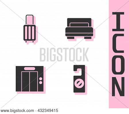 Set Please Do Not Disturb, Suitcase, Lift And Hotel Room Bed Icon. Vector