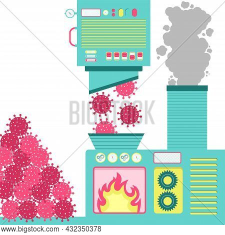Machinery With An Oven Incinerating Virus. Pile Of Virus On The Side. Smoke From The Burning Coming
