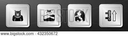 Set Polar Bear Head, Drought, Global Warming And Icon. Silver Square Button. Vector