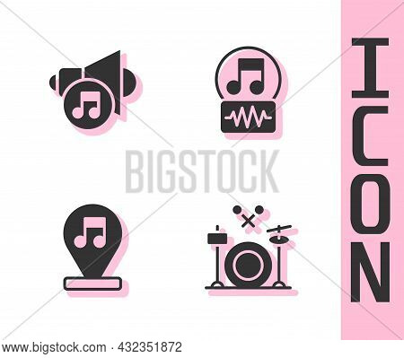Set Drums, Speaker Volume, Music Note, Tone And Icon. Vector