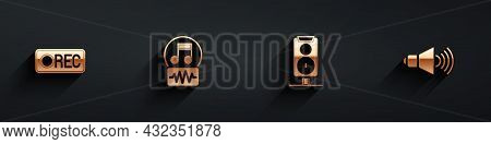 Set Record Button, Music Note, Tone, Stereo Speaker And Speaker Volume Icon With Long Shadow. Vector