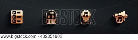 Set Music Playlist, Note, Tone, And Speaker Volume Icon With Long Shadow. Vector