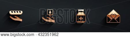 Set Donation Food, Blood Donation, Medicine Bottle And Pills And Envelope With Valentine Heart Icon