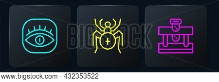 Set Line Masons, Bottle With Potion And Spider. Black Square Button. Vector