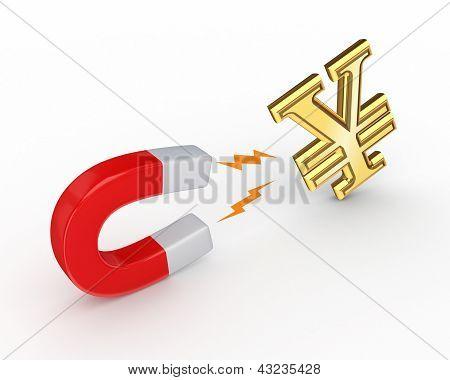 Magnetic horseshoe with yen symbol.
