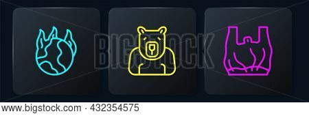 Set Line Global Warming Fire, Say No To Plastic Bags Poster And Polar Bear Head. Black Square Button