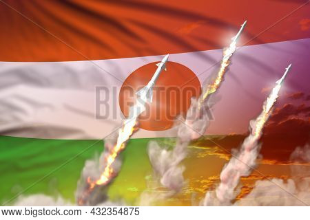 Modern Strategic Rocket Forces Concept On Sunset Background, Niger Ballistic Missile Attack - Milita