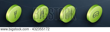 Set Isometric Line Crutch Or Crutches, Sport Expander, False Jaw And Eye Sleep Mask Icon. Vector