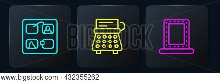 Set Line Storyboard, Makeup Mirror With Lights And Retro Typewriter. Black Square Button. Vector
