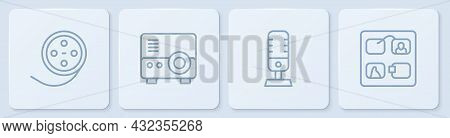 Set Line Film Reel, Microphone, Media Projector And Storyboard. White Square Button. Vector