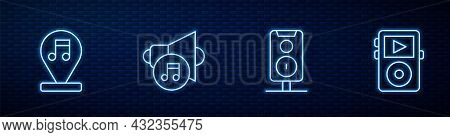 Set Line Stereo Speaker, Music Note, Tone, Speaker Volume And Player. Glowing Neon Icon On Brick Wal