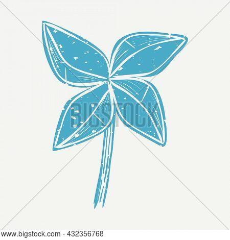 Muted blue windmill linocut in cute illustration