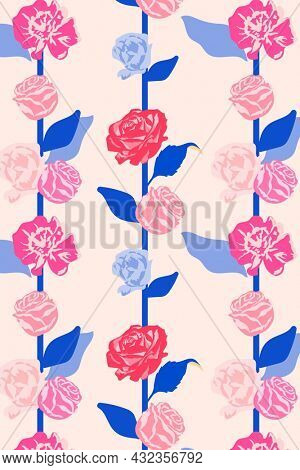 Pink feminine floral pattern with roses pastel background