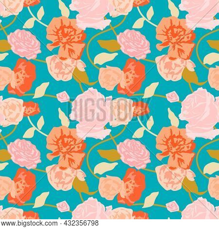 Green spring floral pattern with pink roses background