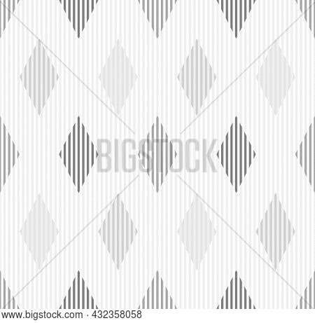 Vertical Line Pattern Diamond Shape Background Seamless. White And Gray. Surface Design For Apparel,