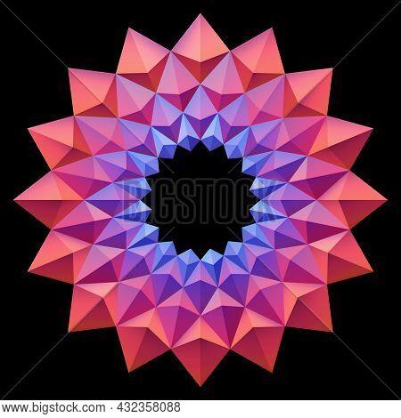 Red Blue Origami Flower Pattern Mandala Style. 3d Geometric Shapes. Element Design For Publication,