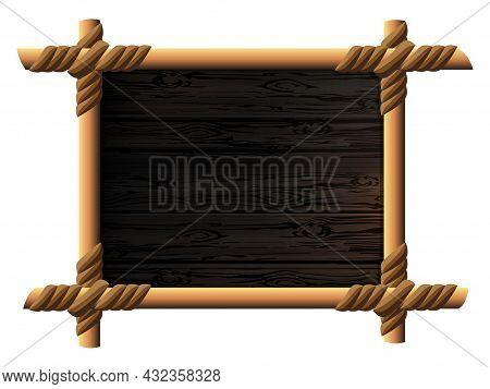 Linked Wood Frame, Wave Patterns From Fine Wood Texture, Design Element.