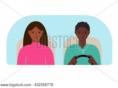 Vector Illustration Of A Man And A Woman In A Car Behind The Windshield.