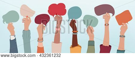 Group Of Multiethnic Business People With Raised Arms Holding Speech Bubble In Hand. Colleagues From