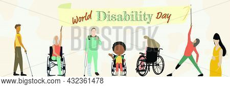 International Day Of Persons With Disabilities. Banner Icon Set With Disabled Woman Athlete With Leg