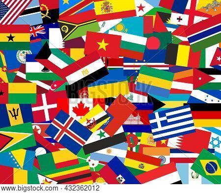 International Flags In Pile. All Colors Of Rainbow. National Symbols Of Countries.