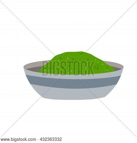 Chlorella. Green Algae Powder. Organic Diet And Super Food. Flat Cartoon Illustration Isolated On Wh