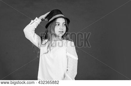Fancy Girl. Spring Outfit. Individual Style. Girl Wear Hat Red Background. Happy Kid In Hat. Fashion