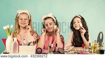 Friendship Party With Cosmetic. Relax And Having Fun. Small Girls In Beauty Salon. Little Sisters In
