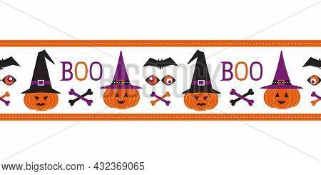 Halloween Scary Pumpkin Seamless Vector Border. Cute Pumpkins, Witch Hats Cartoon Design Element. Ha