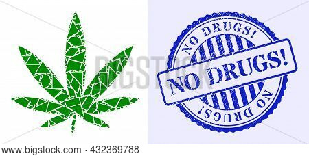 Debris Mosaic Cannabis Icon, And Blue Round No Drugs Exclamation Grunge Stamp Seal With Word Inside