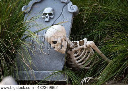 Halloween Cemetery Background. Happy Halloween Skeleton On Cemetery.