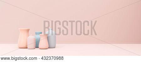 Pastel Rose And Blue Vases In Front Of Pastel Pink Background 3d Render Illustration