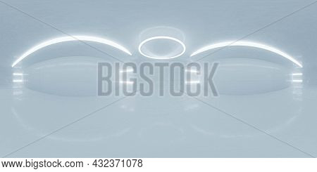 Full 360 Degree Panorama Environment Map Of Futuristic White Room With Circular Led Lights 3d Render