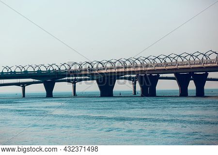 Western High-speed Diameter, St. Petersburg, Russia. Panoramic View Of The Bridge Over The Gulf Of F