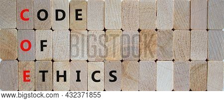Coe, Code Of Ethics Symbol. Concept Words 'coe, Code Of Ethics' On Wooden Blocks On A Beautiful Wood