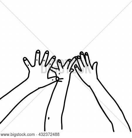 Childish Gesture In The Form Of Five Fingers Raised Upward. The Cildrends Hands Shows The Number Fiv