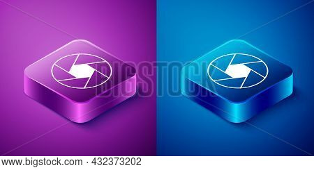Isometric Camera Shutter Icon Isolated On Blue And Purple Background. Square Button. Vector
