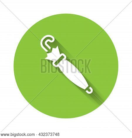 White Umbrella Icon Isolated With Long Shadow. Insurance Concept. Waterproof Icon. Protection, Safet