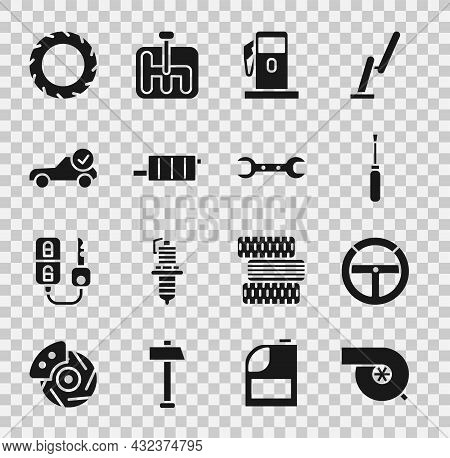 Set Automotive Turbocharger, Steering Wheel, Screwdriver, Petrol Or Gas Station, Car Muffler, Servic