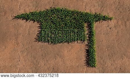 Concept or conceptual green summer lawn grass symbol shape on brown soil or earth background, sign of graduate cap. A 3d illustration metaphor for academic achievement, success and a future career