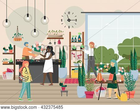 People In Flower Shop, Flat Vector Illustration. Florist Owner Selling Fresh Flower Bouquets, Making