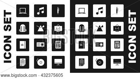 Set Pen, Light Rays In Prism, School Backpack, Laptop, Chalkboard, Music Note, Tone, Calculator And