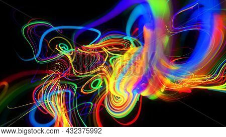 3d Render. Abstract Background Flow Of Glow Lines. Llights Particles Form In 3d Space Glowing Beauti