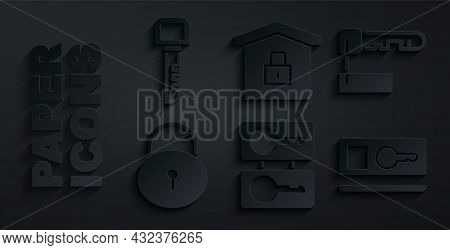Set Casting Keys, Marked, Lock, Key Card, House Under Protection And Icon. Vector