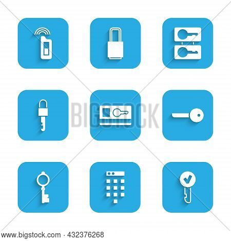 Set Key Card, Password Protection, Old Key, Locked, Casting Keys And Car With Remote Icon. Vector