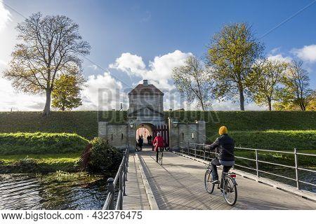 Copenhagen, Denmark - Oct 22, 2018: Kastellet Bridge Leading To The Entrance Of The Star-shaped 17th